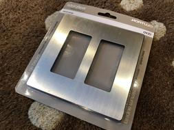Lutron Claro 2 Gang Decorator Wall plate, Stainless Steel CW