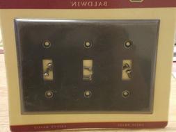 Classic Square Bevel Design Triple Toggle Switch Plate - Fin