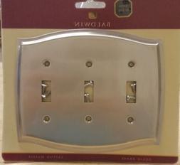 Baldwin Colonial Triple Toggle Solid Brass Switch Plate Sati