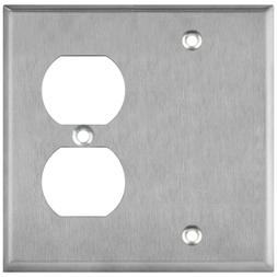 ENERLITES Combination Blank Duplex Receptacle Metal Wall Pla