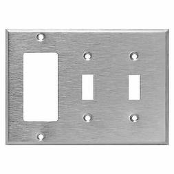 Enerlites Combination Decorator Toggle 3 Gang Steel Wall Pla