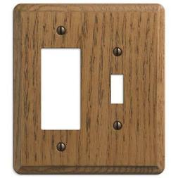 Contemporary Medium Oak Wood - 1 Toggle / 1 Rocker Wallplate