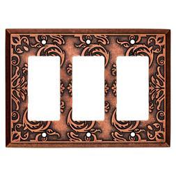 Copper Triple Decorator Wall Plate Fairhope Brainerd W33493-