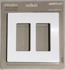 Lutron CW-2-WH Two Gang Claro Wall Plate White