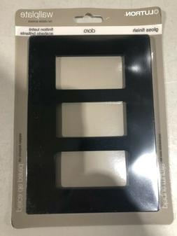 Lutron CW-3-BL Three Gang Claro Wall Plate In Black