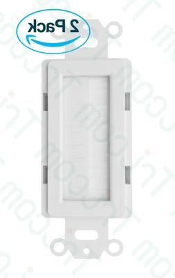 2× Tricom Decora Brush Passthrough Wall Plate Insert - Whit