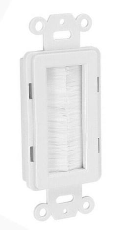 Decora Brush Passthrough Wall Plate Insert - White
