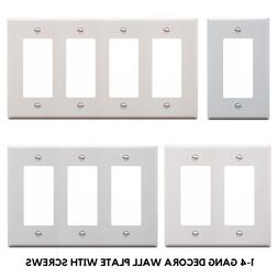 DECORA GFCI PLASTIC WALL COVER PLATE 1 2 3 4 GANG TOGGLE PLU