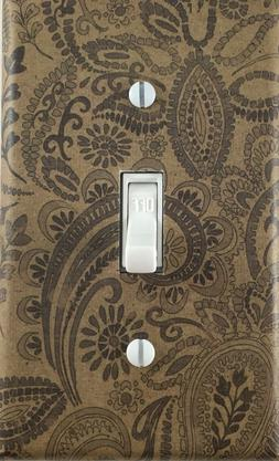 Decorative Single Toggle Light Switch Wall Plate Brown & Bla