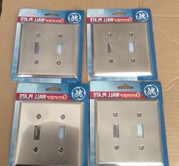 GE Decorator Plated Steel Wall Plate 2 Switch Lot Of 4 New I