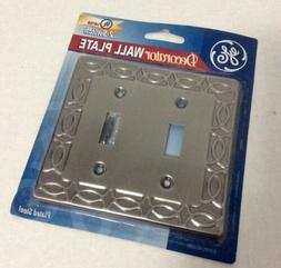 GE DECORATOR WALL PLATE PLATED STEEL 2-SWITCH NEW OLD STOCK