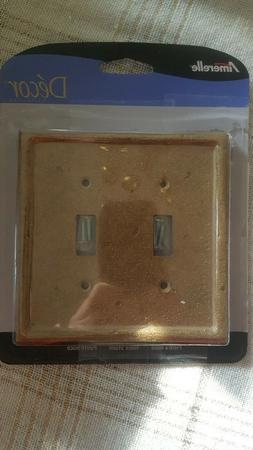 Amerelle Decro Two Toggle Light Wallplate Cover  Noce Stone
