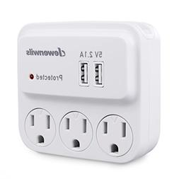 Dewenwils 3 Outlets Wall Adapter Surge Protector  Wall Tap w