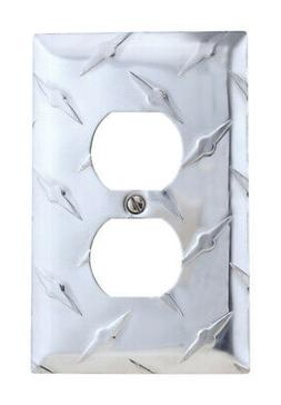 Amerelle  Diamond  1 gang Stamped Aluminum  Duplex Outlet  W