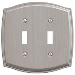 Double 2 Toggle Switch Wall Plate Cover - Brushed Nickel