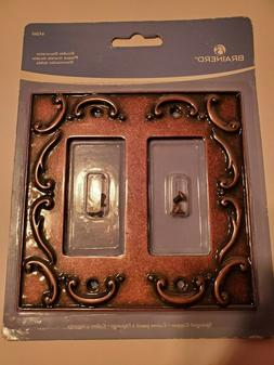 Double Decorator Wall Plate French Lace Sponged Copper NIB