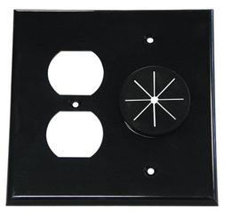 Double Gang Cable Pass Through Wall Plate With Dual Outlet C