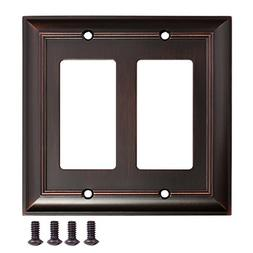 AmazonBasics Double Gang Wall Plate, Oil Rubbed Bronze, 2-Pa