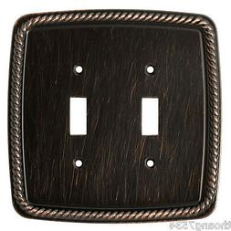 Double Light Switch Cover ROPE Wall Plate VENETIAN BRONZE Br