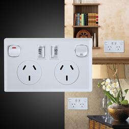 Double Socket with USB AU Plug Electrical <font><b>Wall</b><