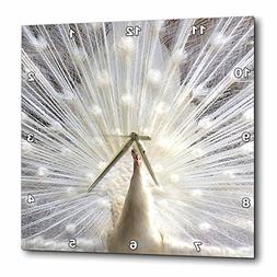 3dRose dpp_4060_3 White Peacock Wall Clock, 15 by 15-Inch