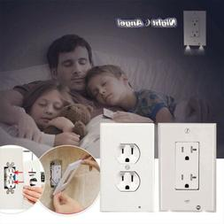 Duplex 2 LED Night Angel Light Wall Outlet Cover Plate Plug