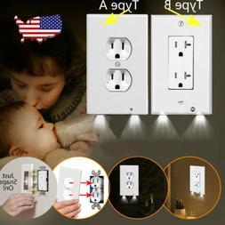 Duplex Night Angel Light Sensor LED Plug Cover Wall Outlet C