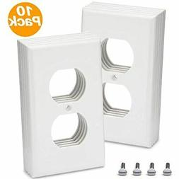 Duplex Outlet Covers 10 Pack 1-Gang Wall Plate Wallplate Ele