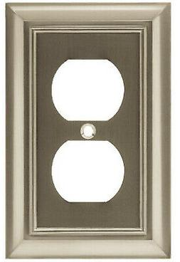Duplex Wall Plate, 1-Gang, Architectural, Satin Nickel Zinc