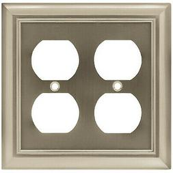 Duplex Wall Plate, 2-Gang, Architectural, Satin Nickel Zinc