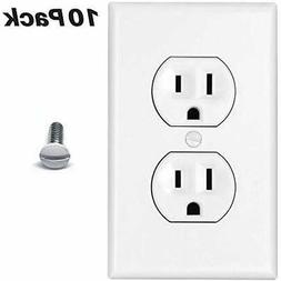 Duplex Wall Plates Outlet Covers 10 Pack 1-Gang Wallplate El