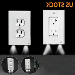 Electrical Outlet Wall Plate w/ LED Night Lights Sensor LED