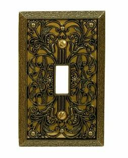 Amerelle 65TAB Filigree Cast Metal Toggle Wallplate, Antique
