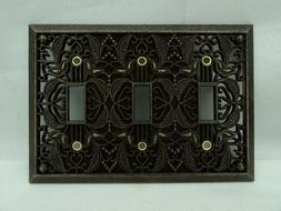 Amerelle Filigree Triple Toggle Switch Plate in Aged Bronze