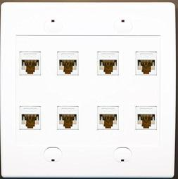 RiteAV 8 Port Flat White Dual 2 Gang Ethernet Cat6 RJ45 Netw