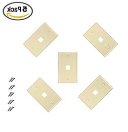 iMBAPrice 1 Port Flush Mount Keystone Jack Wall Plate 1-Gang
