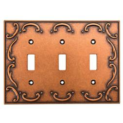 Brainerd French Lace 3-Gang Sponged Copper Triple Toggle Wal