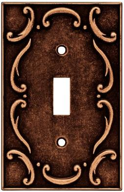 French Lace Single Duplex Wall Plate, Sponged Copper