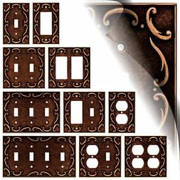 French Lace Sponged Copper Switch Plate Toggle Rocker Duplex