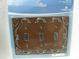 Brainerd French Lace Triple Toggle Wall Plate 164716 Sponged