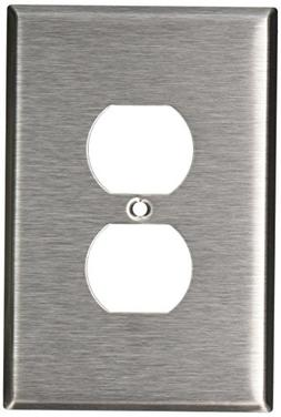 Leviton 84103 1-Gang Duplex Device Receptacle Wallplate, Ove