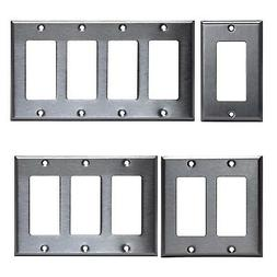 GFI DECORA STYLE STAINLESS STEEL GFCI WALL COVER PLATE 1 2 3