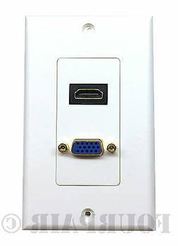 HDMI + VGA Video Combo Media Wall Face Plate RGB Outlet Jack