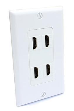 4 Port HDMI Female to Female Decorative Wall Plate in White