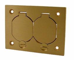 Hubbell-Raco 6250 1-Gang Rectangular Floor Box Duplex Brass