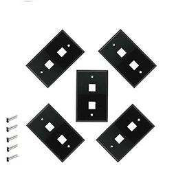 iMBAPrice 2 Port Keystone Jack Wall Plate 1-Gang - Black