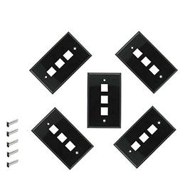 iMBAPrice 3 Port Keystone Jack Wall Plate 1-Gang - Black