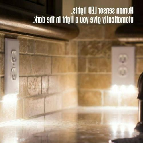 3 LED Night Light Duplex Outlet Switch Wall Plate Cover Whit