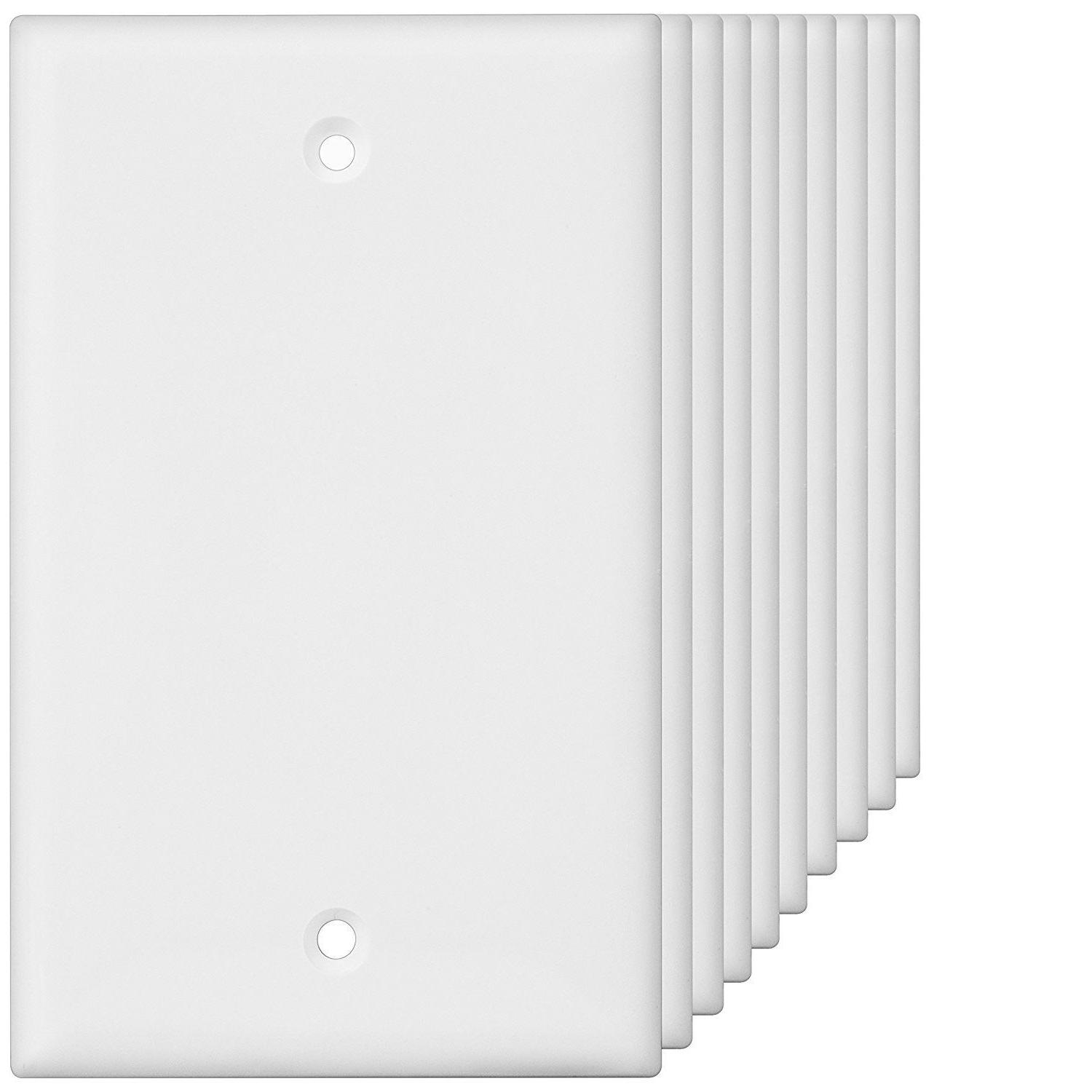 1-Gang Blank Wall Switch Plate Single Outlet Cover White