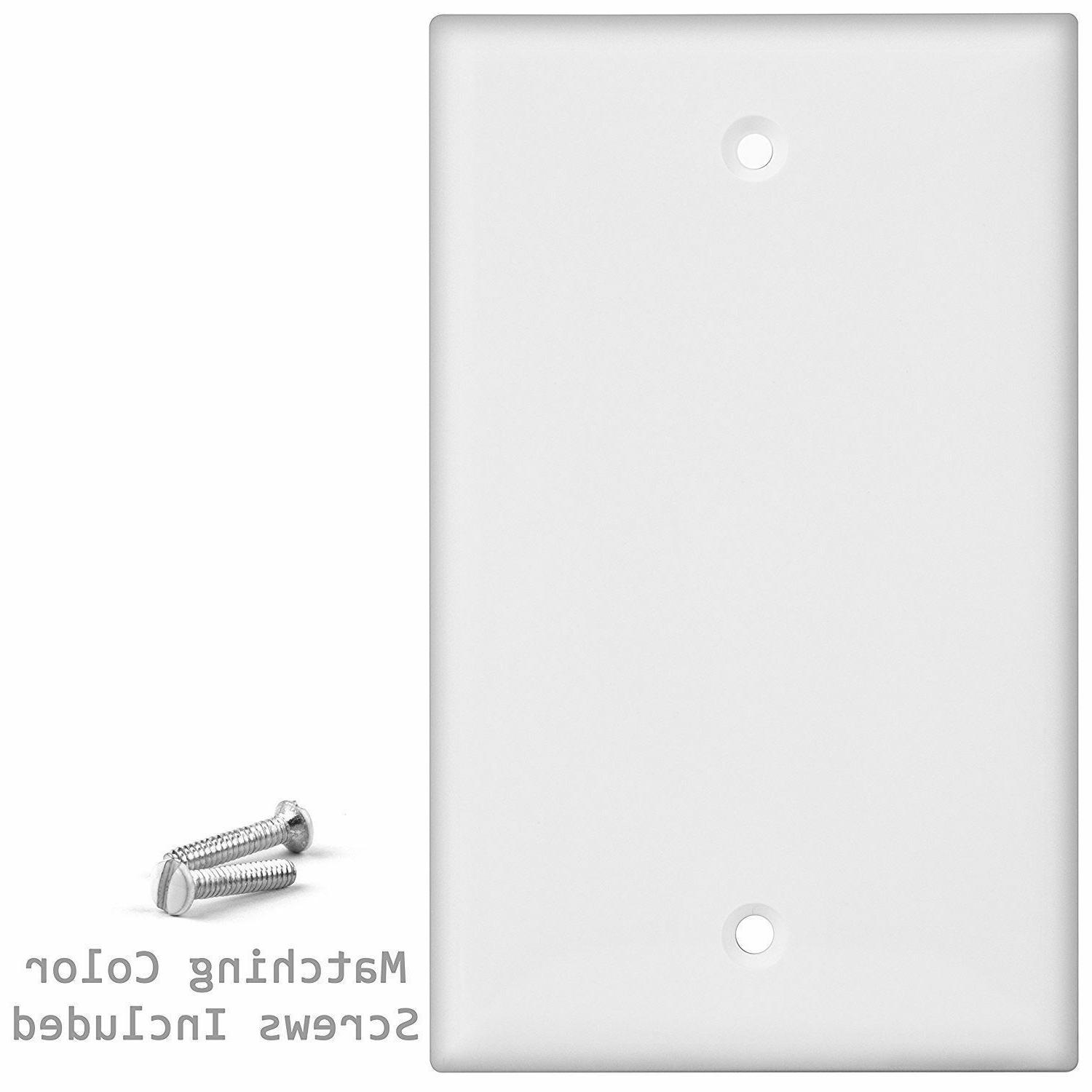 1-Gang Device Outlet Plate, Plastic, White, Pack